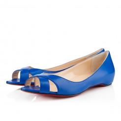 Replica Christian Louboutin Croisette Flat Sandals Blue Cheap Fake Shoes
