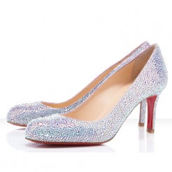 Replica Christian Louboutin Fifi Strass 100mm Special Occasion Silver Cheap Fake Shoes