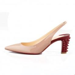 Replica Christian Louboutin Lemer 40mm Slingbacks Nude Cheap Fake Shoes