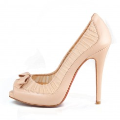 Replica Christian Louboutin Angelique 120mm Peep Toe Pumps Nude Cheap Fake Shoes