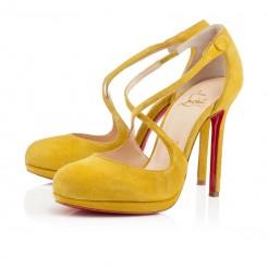 Replica Christian Louboutin Vagalami 120mm Pumps Yellow Cheap Fake Shoes