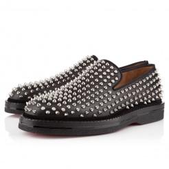 Replica Christian Louboutin Fred Au 14 Loafers Black/Silver Cheap Fake Shoes