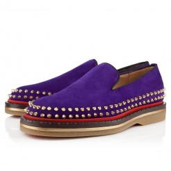 Replica Christian Louboutin Fredapoitiers Loafers Purple Cheap Fake Shoes