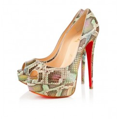 Replica Christian Louboutin Lady 140mm Peep Toe Pumps Multicolor Cheap Fake Shoes