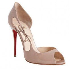 Replica Christian Louboutin Delico 100mm Peep Toe Pumps Nude Cheap Fake Shoes