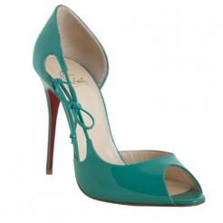 Replica Christian Louboutin Delico 100mm Peep Toe Pumps Jade Cheap Fake Shoes
