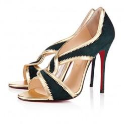 Replica Christian Louboutin Suzanana 100mm Peep Toe Pumps Green Cheap Fake Shoes