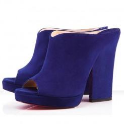 Replica Christian Louboutin Roche Mule Peep Toe Pumps Indigo Cheap Fake Shoes