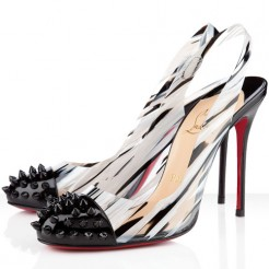 Replica Christian Louboutin Epoca 100mm Slingbacks Black/White Cheap Fake Shoes