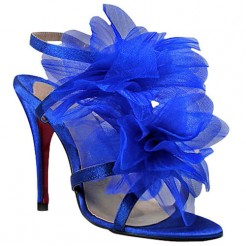 Replica Christian Louboutin Petal 70mm Sandals Blue Cheap Fake Shoes