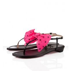 Replica Christian Louboutin Vaudou Flat Sandals Black/Pink Cheap Fake Shoes