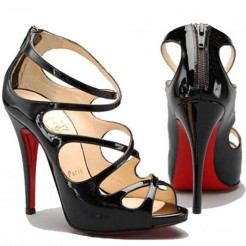 Replica Christian Louboutin Croisilleta 120mm Sandals Black Cheap Fake Shoes