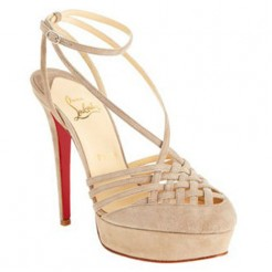 Replica Christian Louboutin Tres Francaise 140mm Sandals Beige Cheap Fake Shoes