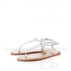 Replica Christian Louboutin Flanana Sandals White Cheap Fake Shoes